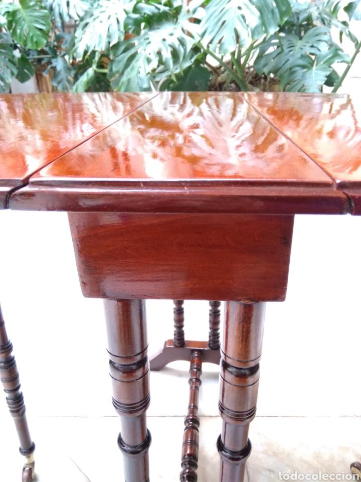 Antigüedades: Mesa auxiliar de alas, plegable, caoba maciza - Foto 11 - 119849306