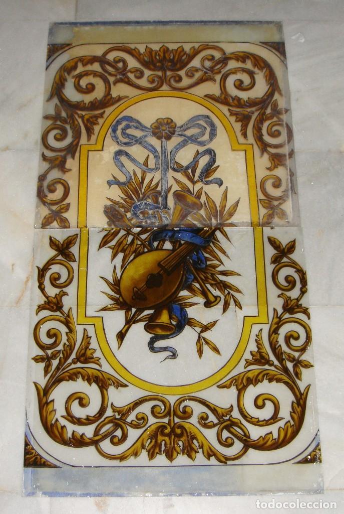 ANTIGUA VIDRIERA O CRISTALERA. S.XIX. PINTADA A MANO. EN 2 PIEZAS. (Antigüedades - Cristal y Vidrio - Otros)