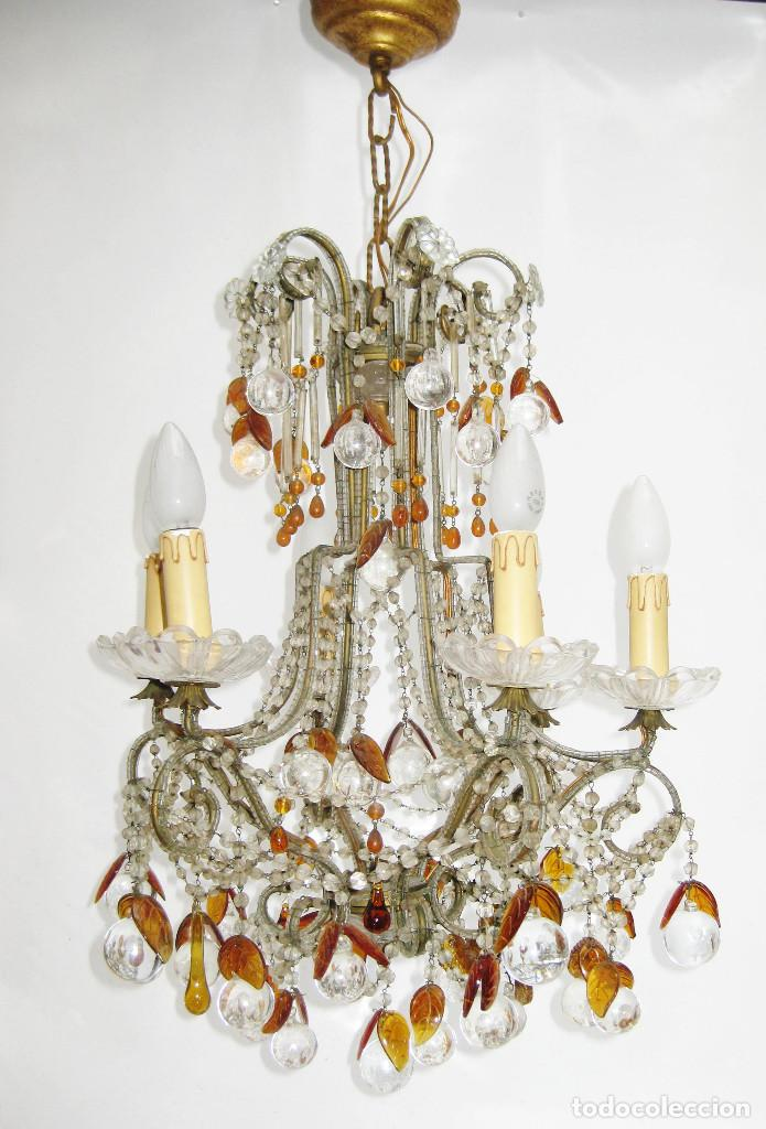 Antigüedades: ESPECTACULAR LAMPARA ROMANTICISMO ORIGINAL CRISTAL DE BOHEMIA ANTIGUA - Foto 2 - 119904839