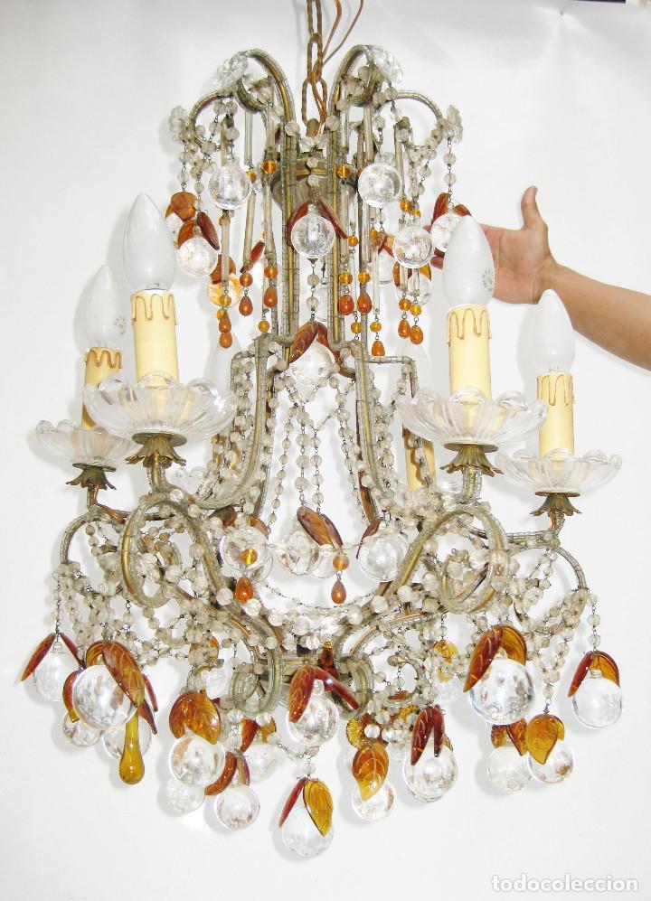 ESPECTACULAR LAMPARA ROMANTICISMO ORIGINAL CRISTAL DE BOHEMIA ANTIGUA (Antigüedades - Iluminación - Lámparas Antiguas)