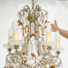 Antigüedades: ESPECTACULAR LAMPARA ROMANTICISMO ORIGINAL CRISTAL DE BOHEMIA ANTIGUA. Lote 119904839