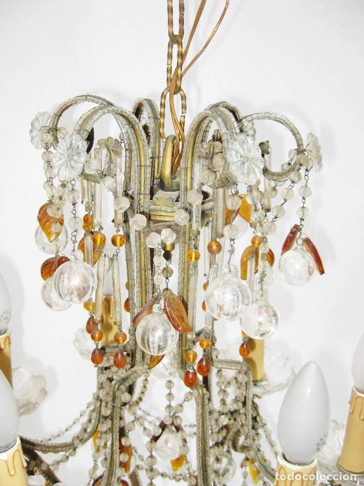 Antigüedades: ESPECTACULAR LAMPARA ROMANTICISMO ORIGINAL CRISTAL DE BOHEMIA ANTIGUA - Foto 5 - 119904839