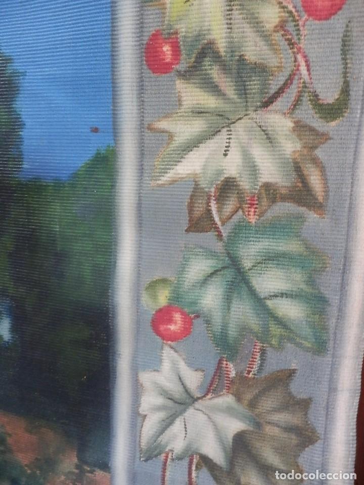 Antigüedades: GRAN TAPIZ pintado a mano fines s XIX a pps s XX - Foto 3 - 119941039