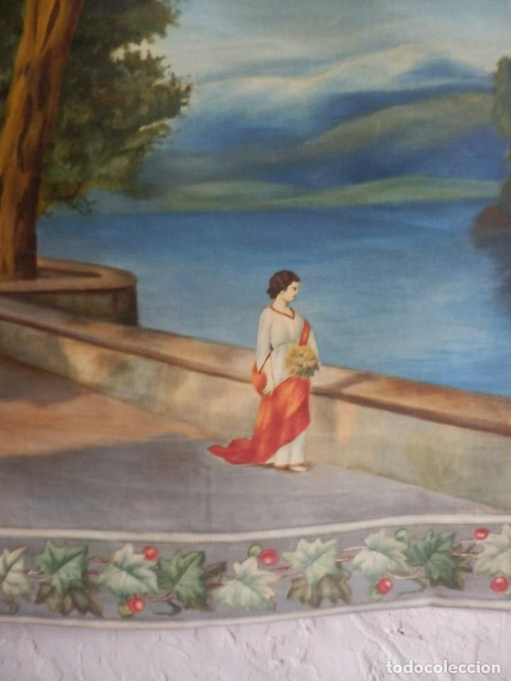 Antigüedades: GRAN TAPIZ pintado a mano fines s XIX a pps s XX - Foto 5 - 119941039
