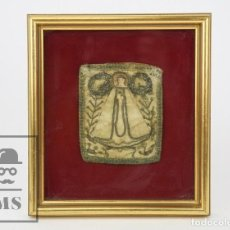 Antigüedades: ANTIGUA ESTAMPA DE ESCAPULARIO ENMARCADA - HILO DORADO SOBRE SEDA - SIGLO XIX . Lote 119960031
