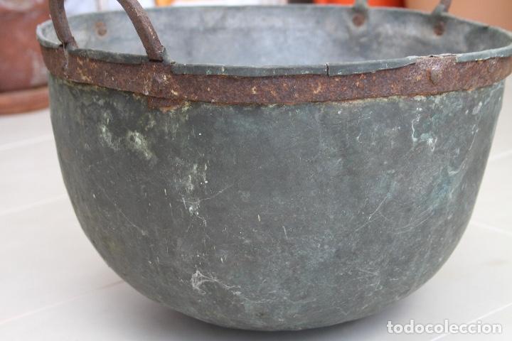 Antigüedades: CALDERA COBRE ASTURIANA ANTIGUA MIRANDA AVILES ASTURIAS ETNOGRAFIA 42 CM - Foto 4 - 119969347