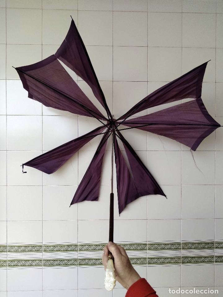 Antigüedades: Sombrilla - parasol, siglo XIX. Tela de seda natural a reponer. - Foto 13 - 119573127