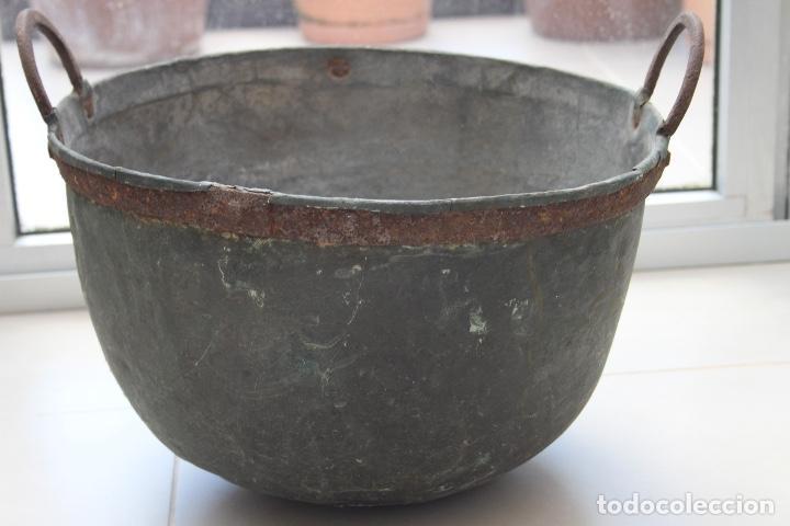 Antigüedades: CALDERA COBRE ASTURIANA ANTIGUA MIRANDA AVILES ASTURIAS ETNOGRAFIA 42 CM - Foto 3 - 119969347