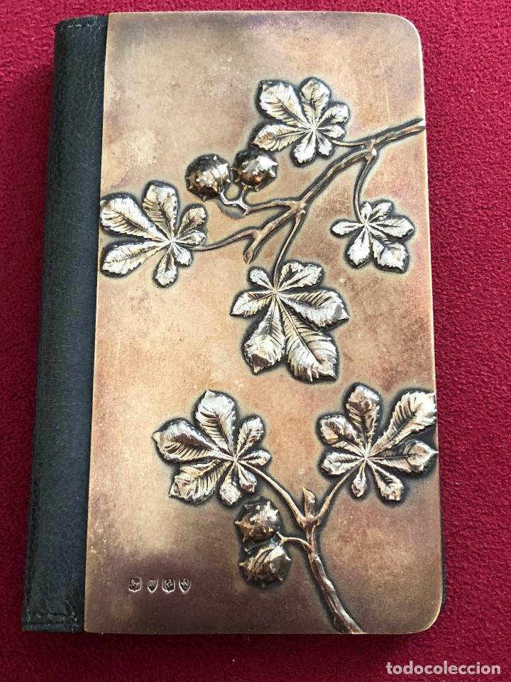 Antigüedades: Cartera de piel y plata punzonada Principios s XX Adorno floral - Foto 3 - 119999267
