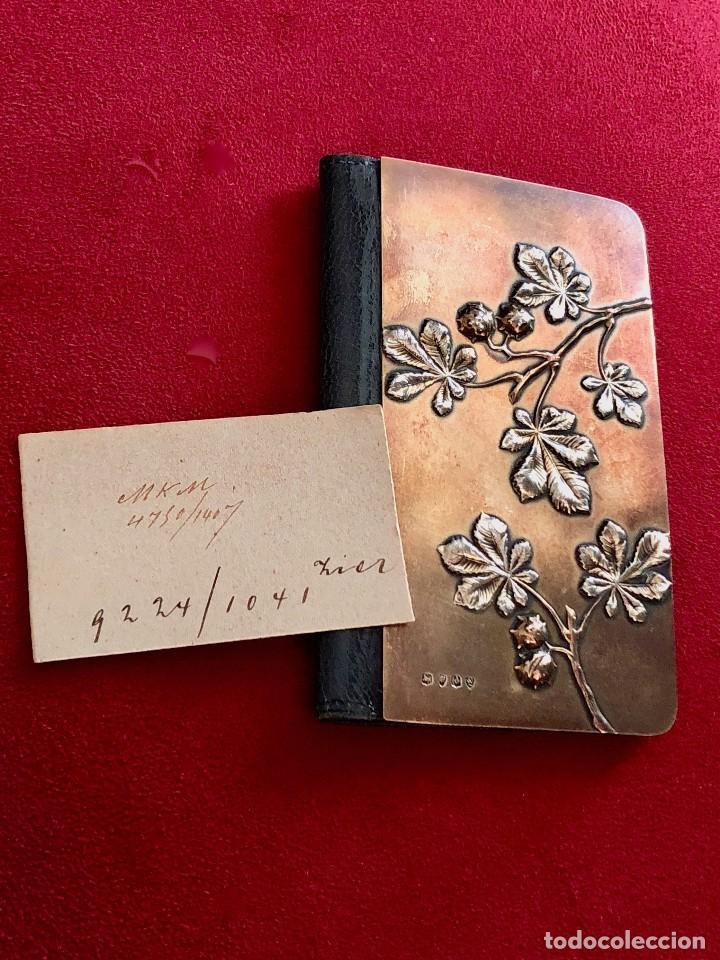 Antigüedades: Cartera de piel y plata punzonada Principios s XX Adorno floral - Foto 9 - 119999267