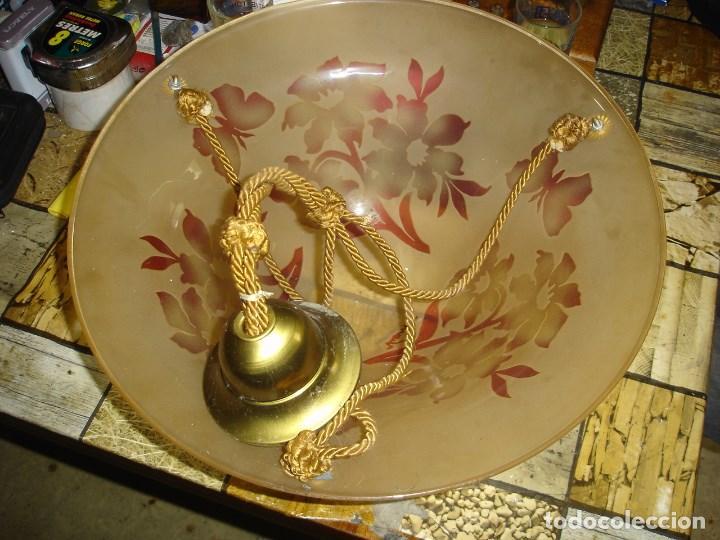 Antigüedades: bonita y firmada lampara art noveau art deco en cristal doblado bacarrat ver fotos - Foto 3 - 120000163