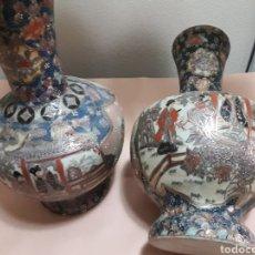 Antigüedades: JARRONES ANTIGUOS SATSUMA PORCELANA VIDRIADA HECHOS Y PINTADOS A MANO SELLADOS. Lote 120009860
