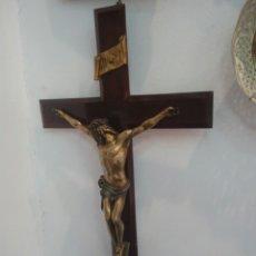 Antigüedades: CRISTO BRONCE EN CRUCIFIJO DE GRAN TAMAÑO. Lote 120041895