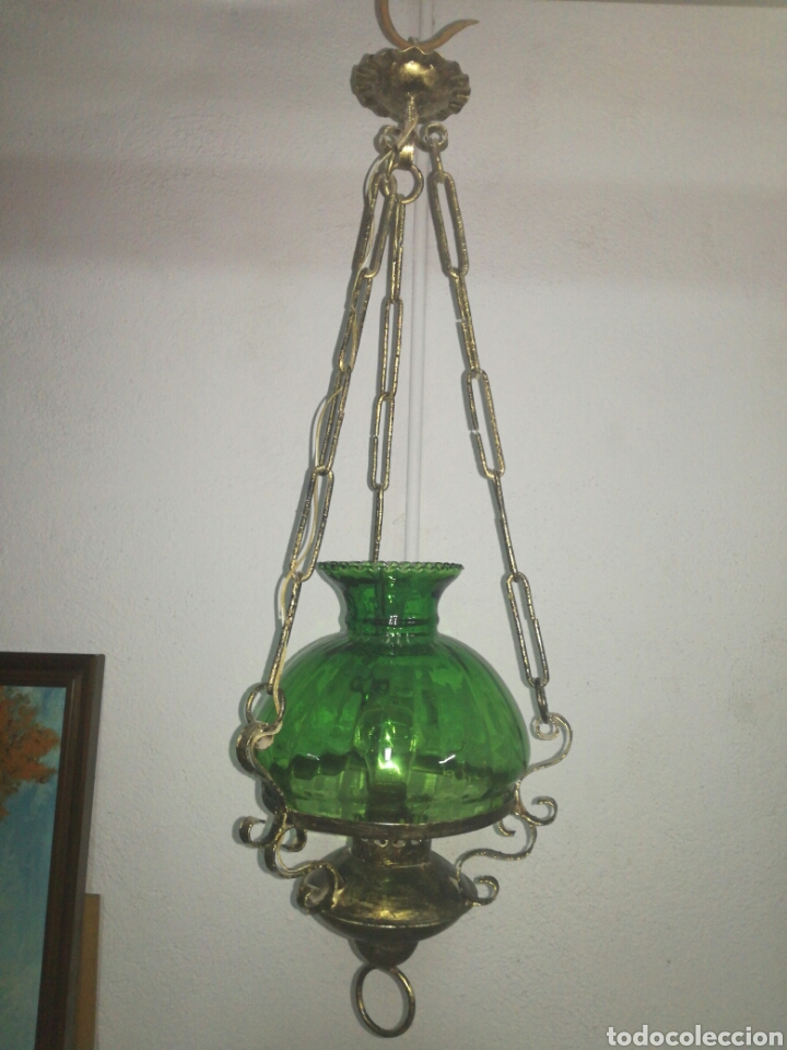 LAMPARA FAROL ESTILO QUINQUÉ (Antigüedades - Iluminación - Faroles Antiguos)