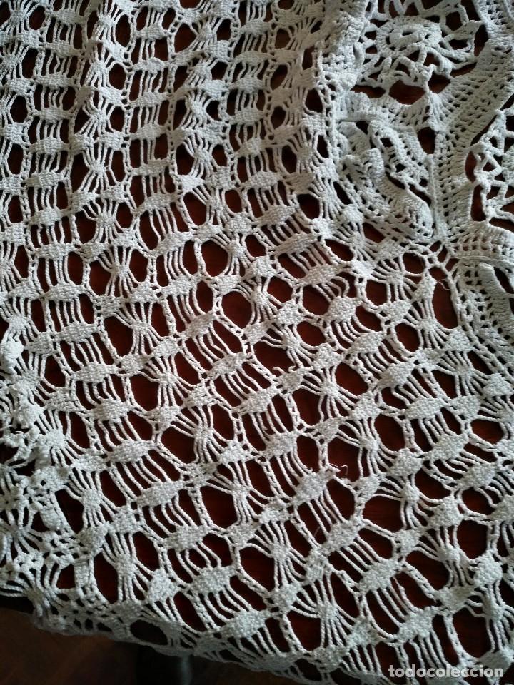 Antigüedades: T 14 Gran tapete / mantel redondo blanco 130cm diámetro - Foto 4 - 120069203