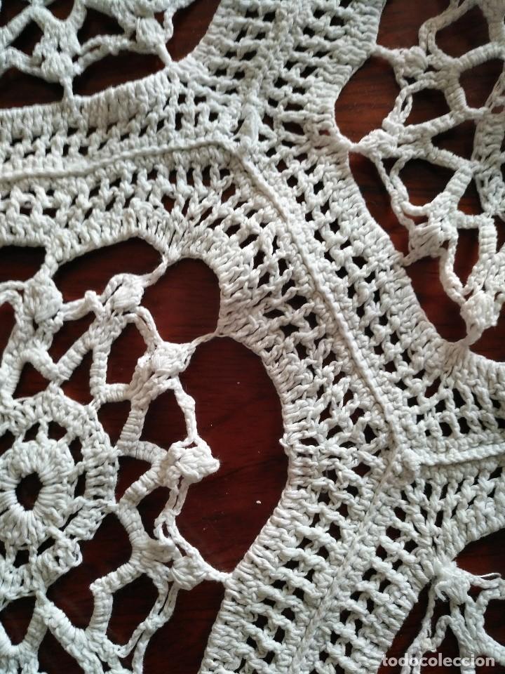 Antigüedades: T 14 Gran tapete / mantel redondo blanco 130cm diámetro - Foto 6 - 120069203