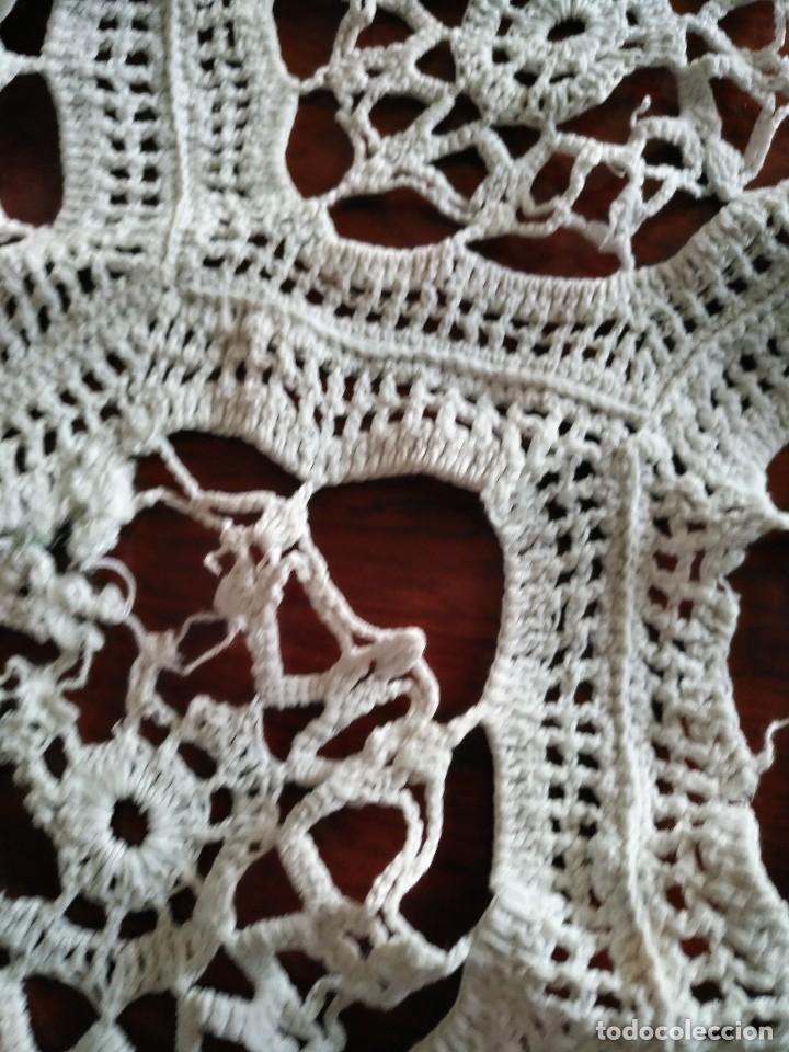Antigüedades: T 14 Gran tapete / mantel redondo blanco 130cm diámetro - Foto 9 - 120069203