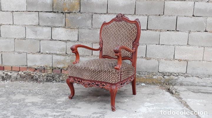 Antigüedades: 2 dos sillas butacas antiguas estilo barroco. Pareja de sillones antiguos estilo Luis XV. - Foto 4 - 120078643