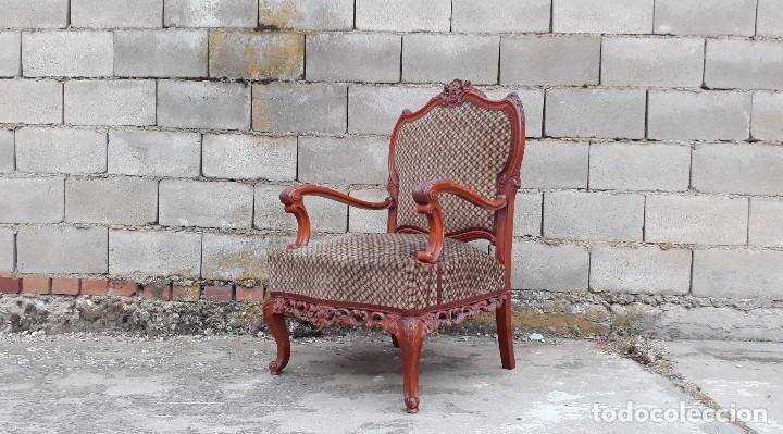 Antigüedades: 2 dos sillas butacas antiguas estilo barroco. Pareja de sillones antiguos estilo Luis XV. - Foto 5 - 120078643