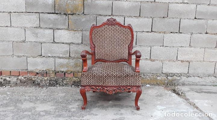 Antigüedades: 2 dos sillas butacas antiguas estilo barroco. Pareja de sillones antiguos estilo Luis XV. - Foto 6 - 120078643