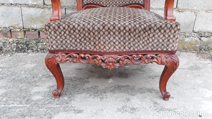 Antigüedades: 2 dos sillas butacas antiguas estilo barroco. Pareja de sillones antiguos estilo Luis XV. - Foto 7 - 120078643