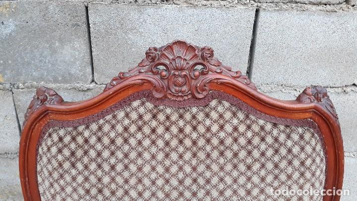 Antigüedades: 2 dos sillas butacas antiguas estilo barroco. Pareja de sillones antiguos estilo Luis XV. - Foto 8 - 120078643