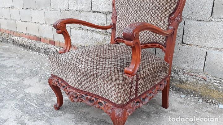 Antigüedades: 2 dos sillas butacas antiguas estilo barroco. Pareja de sillones antiguos estilo Luis XV. - Foto 9 - 120078643