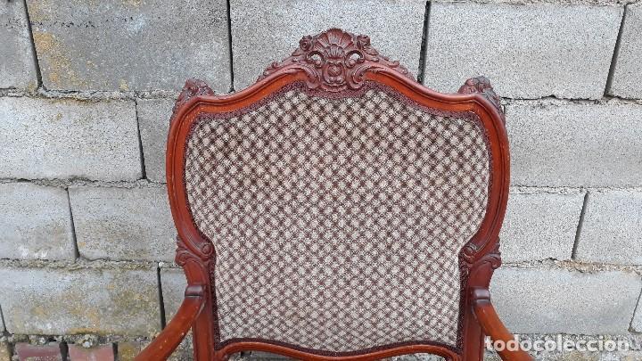 Antigüedades: 2 dos sillas butacas antiguas estilo barroco. Pareja de sillones antiguos estilo Luis XV. - Foto 11 - 120078643