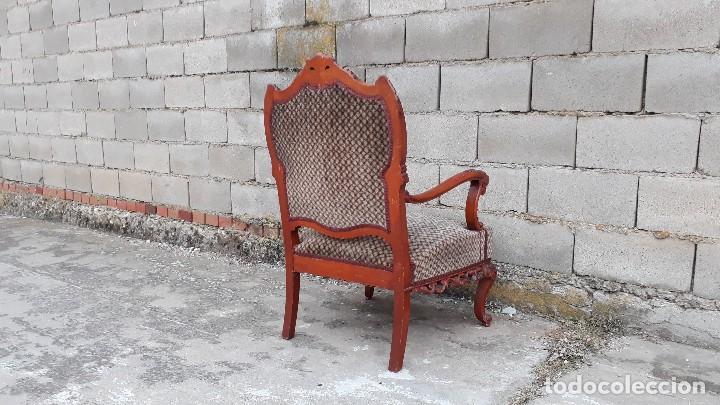Antigüedades: 2 dos sillas butacas antiguas estilo barroco. Pareja de sillones antiguos estilo Luis XV. - Foto 13 - 120078643