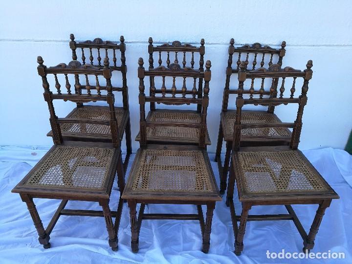SILLAS ANTIGUAS TALLADAS NOGAL (Antigüedades - Muebles Antiguos - Sillas Antiguas)