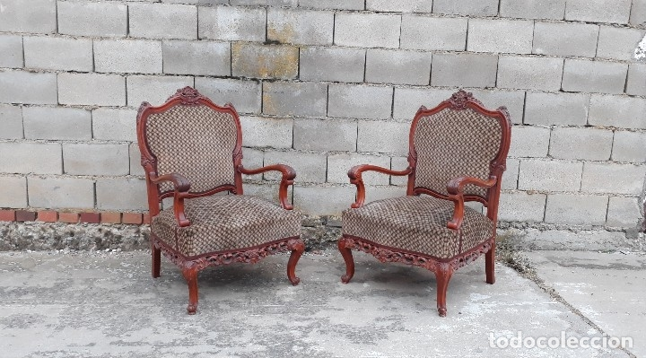 Antigüedades: 2 dos sillas butacas antiguas estilo barroco. Pareja de sillones antiguos estilo Luis XV. - Foto 14 - 120078643