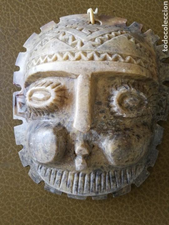 Antigüedades: ANTIGUA MÁSCARA DE ALABASTRO TALLADA A MANO - Foto 2 - 120110960