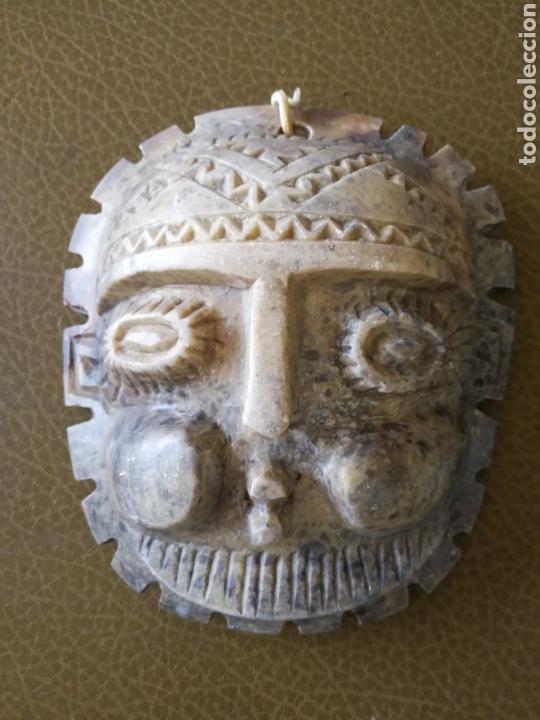 Antigüedades: ANTIGUA MÁSCARA DE ALABASTRO TALLADA A MANO - Foto 6 - 120110960