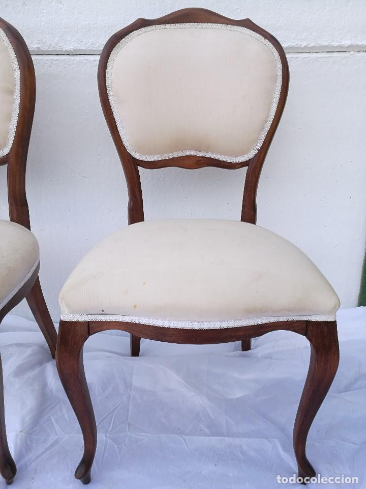 Antigüedades: Pareja de butacas/sillas antiguas Isabelinas - Foto 3 - 133048203