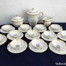 Antigüedades: JUEGO ANTIGUO DE CAFE PORCELANA DE LIMOGES SELLO LIMOGES. Lote 120128327