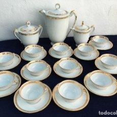 Antigüedades: JUEGO ANTIGUO DE CAFE PORCELANA DE LIMOGES SELLO LIMOGES. Lote 120129447