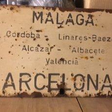 Antigüedades: CARTEL DIRECCIONAL DE TREN. Lote 120131423