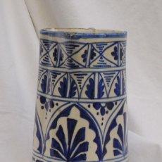 Antigüedades: JARRA DE CERÁMICA PINTADA EN AZUL DE MANISES. Lote 120136811