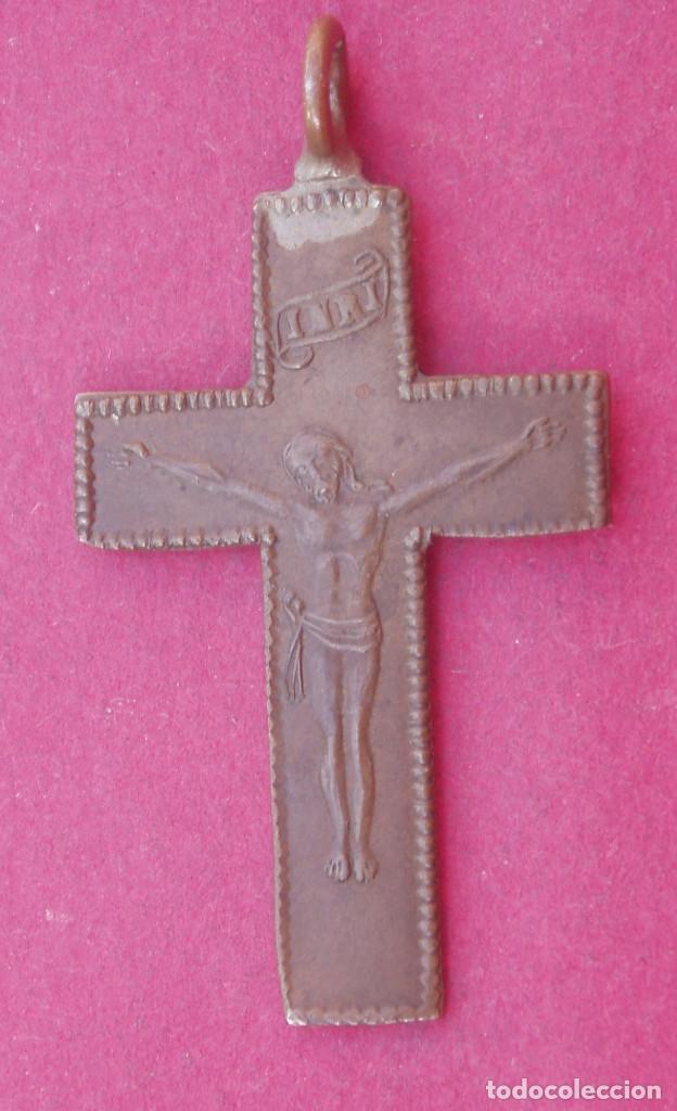 Antigüedades: Preciosa Cruz Medalla Crucifijo Siglo XIX. Símbolos de la Pasión. - Foto 2 - 120150267