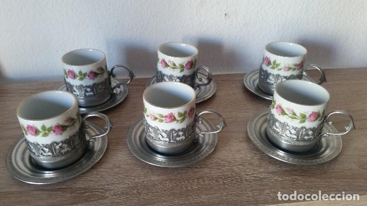 Antigüedades: PRECIOS JUEGO DE CAFE PORCELANA Y ESTANO ALEMANIA SELADO KRONSSTER BAVARIA PINTADO A MANO ANOS 30,40 - Foto 2 - 120150903