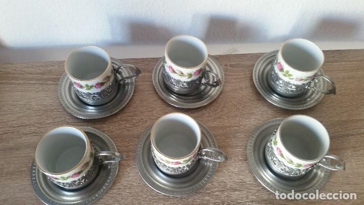Antigüedades: PRECIOS JUEGO DE CAFE PORCELANA Y ESTANO ALEMANIA SELADO KRONSSTER BAVARIA PINTADO A MANO ANOS 30,40 - Foto 3 - 120150903