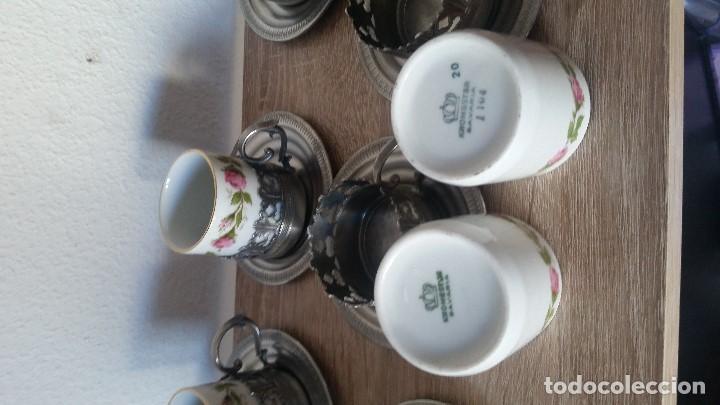 Antigüedades: PRECIOS JUEGO DE CAFE PORCELANA Y ESTANO ALEMANIA SELADO KRONSSTER BAVARIA PINTADO A MANO ANOS 30,40 - Foto 4 - 120150903