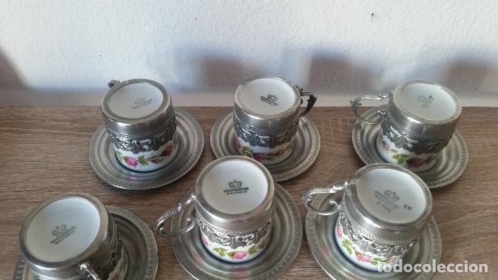 Antigüedades: PRECIOS JUEGO DE CAFE PORCELANA Y ESTANO ALEMANIA SELADO KRONSSTER BAVARIA PINTADO A MANO ANOS 30,40 - Foto 11 - 120150903