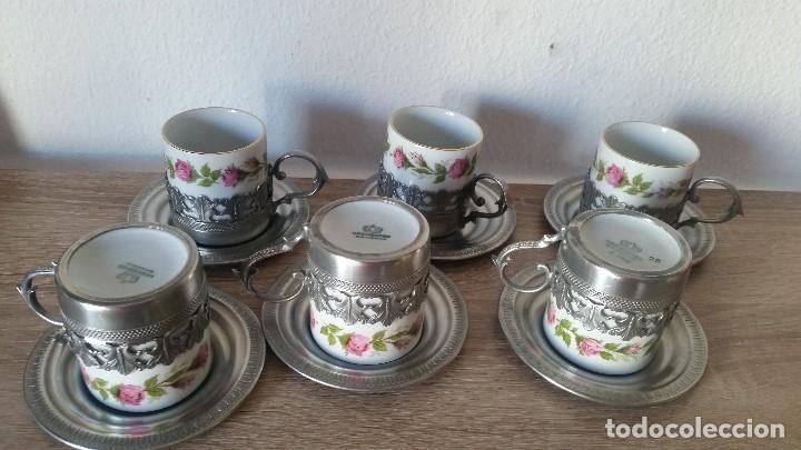 Antigüedades: PRECIOS JUEGO DE CAFE PORCELANA Y ESTANO ALEMANIA SELADO KRONSSTER BAVARIA PINTADO A MANO ANOS 30,40 - Foto 13 - 120150903