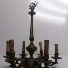 Antigüedades: LAMPARA DE TECHO DE BRONCE DE SEIS LUCES. Lote 120218826