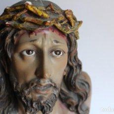 Antigüedades: IMAGEN CRISTO DE LIMPIAS DE ARTE MODERNO DE OLOT 32 CM ROSTRO MUY REAL. Lote 120229599
