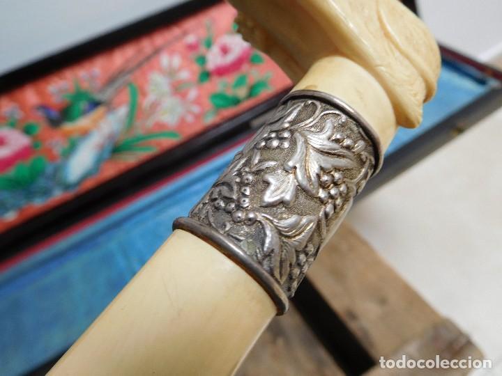Antigüedades: Bastón de marfil antiguo con su caja lacada original finales de siglo XIX - Foto 19 - 120236743