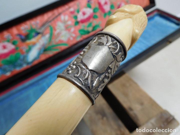 Antigüedades: Bastón de marfil antiguo con su caja lacada original finales de siglo XIX - Foto 20 - 120236743
