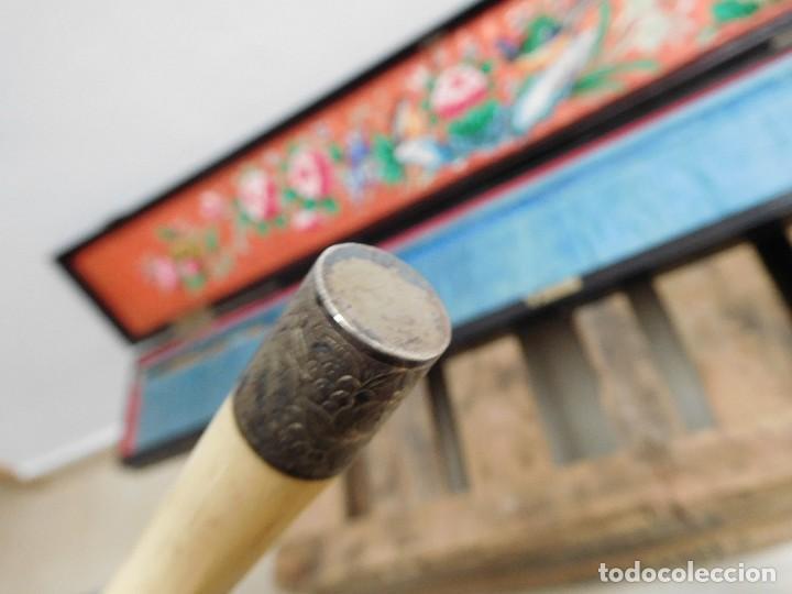 Antigüedades: Bastón de marfil antiguo con su caja lacada original finales de siglo XIX - Foto 31 - 120236743