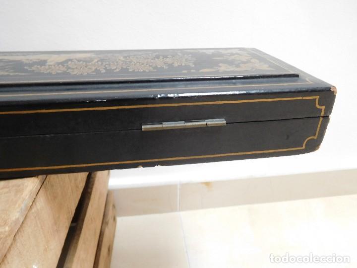Antigüedades: Bastón de marfil antiguo con su caja lacada original finales de siglo XIX - Foto 47 - 120236743